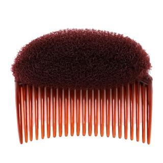 【kiret】日韓 自然便利 扁頭蓬鬆器-咖色(馬尾蓬鬆器 增高墊 盤髮墊 盤髮器 魔鬼粘 髮梳 插梳)
