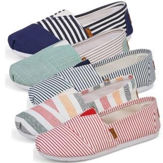 【Sp house】青春旅行休閒條紋透氣帆布鞋(五色全尺碼)