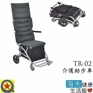 【海夫健康生活館】輪昇 快速收折 可收踏板 頭靠 介護 助步車 購物車(TR-02)