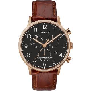 【TIMEX】天美時 Waterbury系列 經典簡約三眼計時手錶(黑/咖啡色 TXTW2R71600)