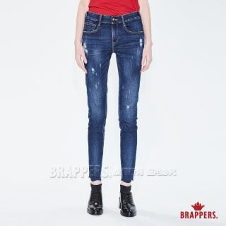 【BRAPPERS】女款 新美腳 ROYAL 系列-彈性褲口不規則波浪窄管褲(藍)