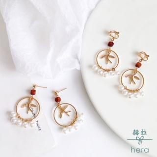 【HERA 赫拉】韓國簡約燕子小鳥復古幾何圓形耳環耳針/無耳洞耳夾