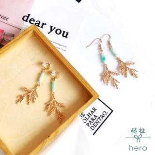 【HERA 赫拉】韓國氣質簡約文藝清新樹枝清綠耳環耳勾/無耳洞耳夾