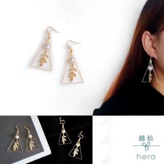 【HERA 赫拉】森林系唯美樹葉幾何耳環耳勾/無耳洞耳夾