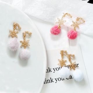 【HERA 赫拉】韓國簡約雪花毛球耳環無耳洞耳夾(3色)