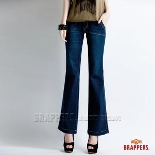 【BRAPPERS】女款 新美腳 Royal 系列-彈性中低腰寬版大靴型褲(藍)