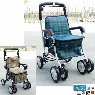 【海夫健康生活館】恆伸 超輕型 銀髮族 四輪散步 有扶手購物車 置物袋助行車(ER-238/328)