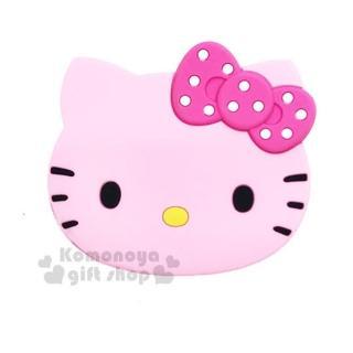 〔小禮堂〕Hello Kitty 造型隨身鏡《粉.大臉.點點蝴蝶結》