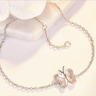 【Angel】S925銀法國蝴蝶質感水晶手鍊(白金色)