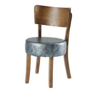 【AS】亞爾灰色皮面餐椅-46x44x79cm