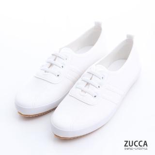 【ZUCCA&bellwink】日系帆布橫紋休閒鞋z6304we-白色