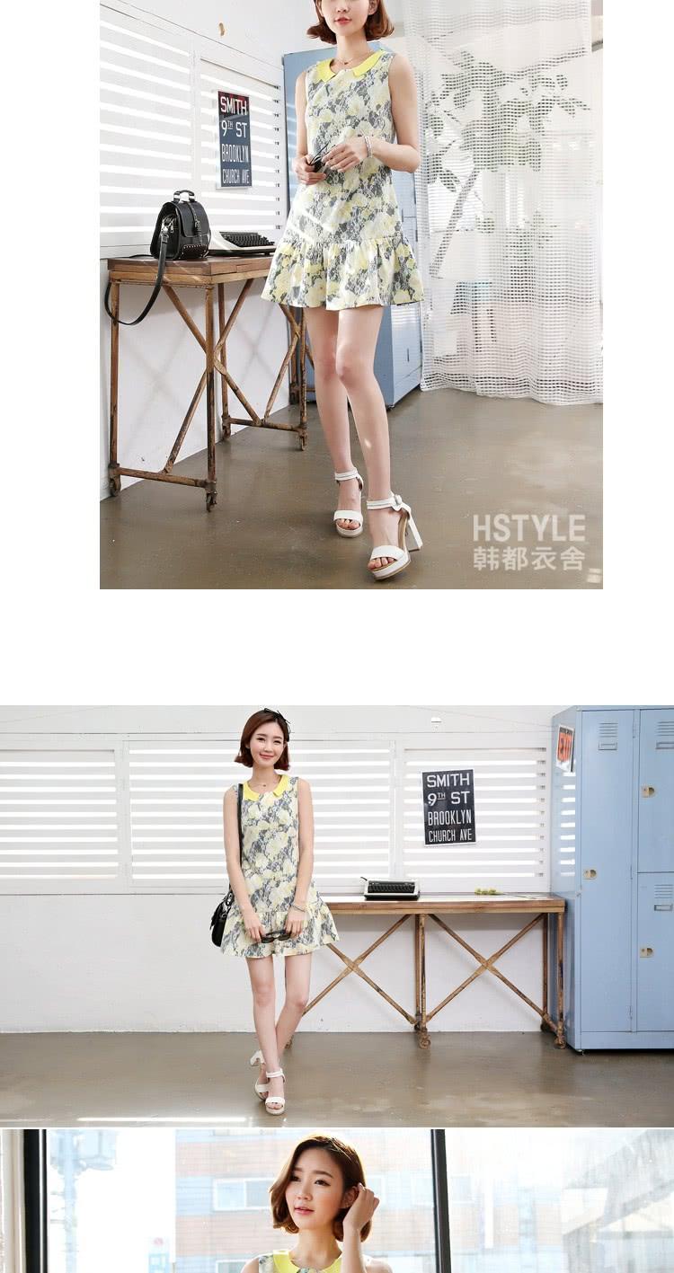 【創翊韓都】連身裙 蕾絲印花修身無袖洋裝DF4596(現貨+預購)