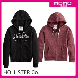 【HOLLISTER Co】男女高磅棉經典刺繡logo連帽外套(多款任選)