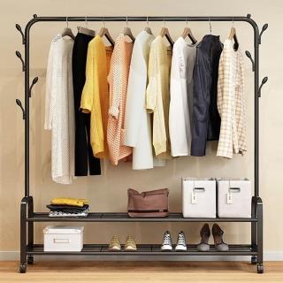 工業風簡易臥室帶樹杈附雙層置物衣架/衣帽架/室內掛衣架(附輪好移動)