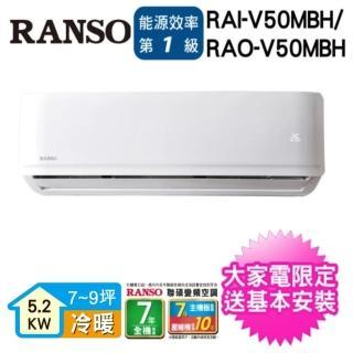 【★滿額登記送mo幣★RANSO聯碩】8-10坪R32一級變頻冷暖分離式(RAI-V50MBH/RAO-V50MBH)