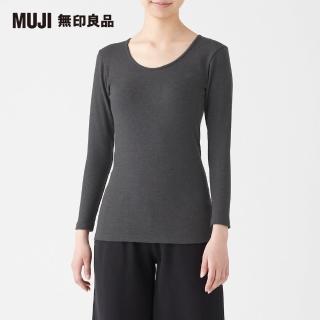 【MUJI 無印良品】女棉混羊毛高保暖U領八分袖T恤(共4色)