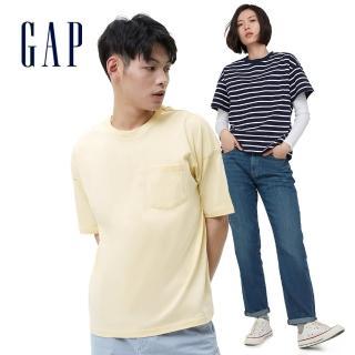 【GAP】男女裝 Logo簡約風格純色厚磅短袖T恤(多色可選)
