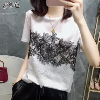 【初色】蕾絲拼接氣質T恤-共2色-98685(M-2XL可選)