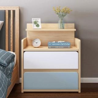【慢慢家居】北歐田園橡木大容量雙抽屜收納床頭櫃