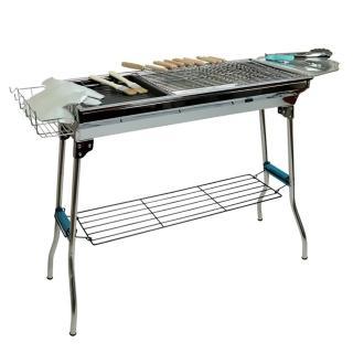 【露營達人】豪華全配折疊式高腳不鏽鋼烤肉爐(烤肉架/BBQ/barbecue)