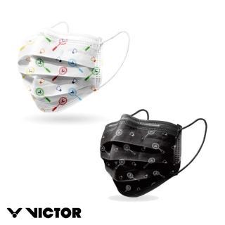 【VICTOR 勝利體育】VICTOR羽球印花口罩 10入1盒(C-P0052 C 三層防塵口罩 符合ISO 13485認證)