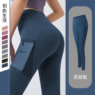 【初色生活】網紗口袋緊身瑜珈褲-共9色-99389(M-2XL可選/現貨+預購)